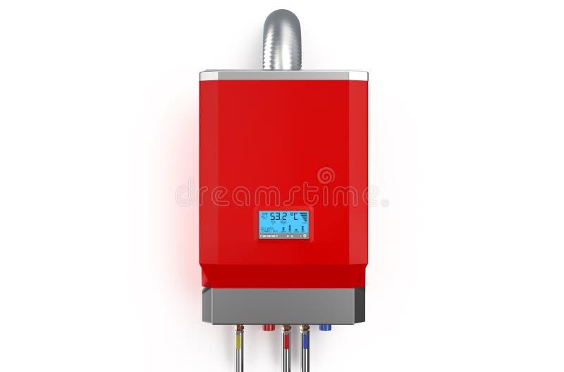 Chaudière à gaz à la maison rouge, chauffe-eau illustration de vecteur