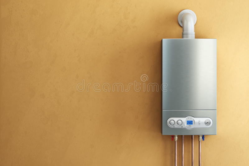 Chaudière à gaz sur le fond jaune Chauffage domestique illustration libre de droits
