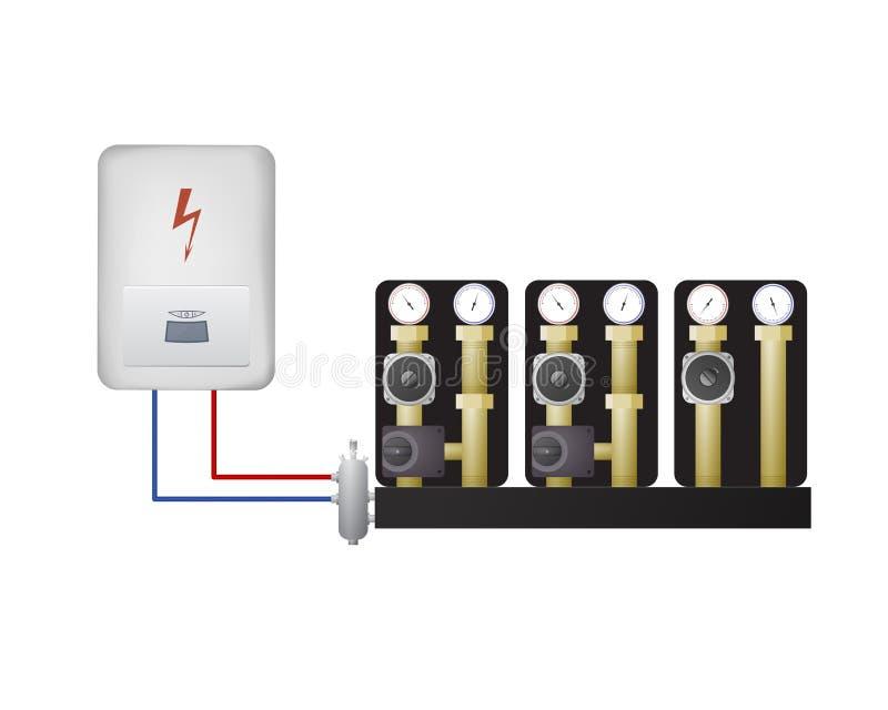 Chaudière électrique avec l'unité de pompe illustration stock