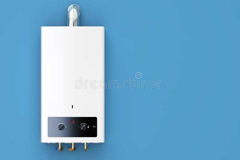 Chaudière de gaz à la maison, chauffe-eau rendu 3D sur le CCB bleu illustration stock