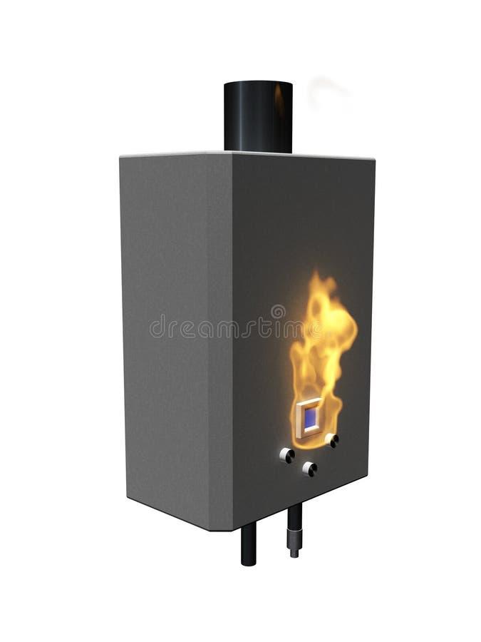 Chaudière de gaz avec la flamme illustration stock
