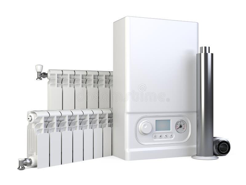 Chaudière de gaz, ensemble de radiateur d'appareil de chauffage et tuyau de cheminée pour la maison Système de chauffage illustration de vecteur
