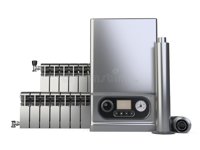 Chaudière de gaz, ensemble de radiateur d'appareil de chauffage et tuyau en acier de cheminée pour la maison - vue de face Systèm illustration libre de droits