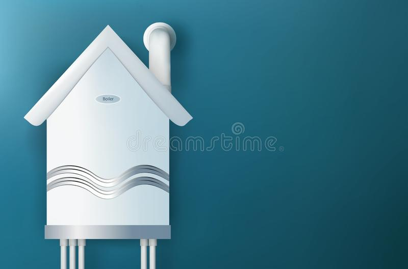 Chaudière de gaz moderne sous forme de maison Maison d'échauffement Réchauffez un concept à la maison illustration 3D illustration libre de droits