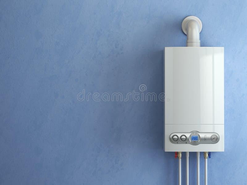 Chaudière de gaz sur le fond bleu Chauffage domestique de chaudière de gaz illustration libre de droits