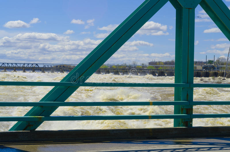 Chaudiere Falls impact Ottawa River causing flooding. Surging Chaudiere falls impact Ottawa river causing record breaking flooding in Ottawa and Gatineau spring royalty free stock photo