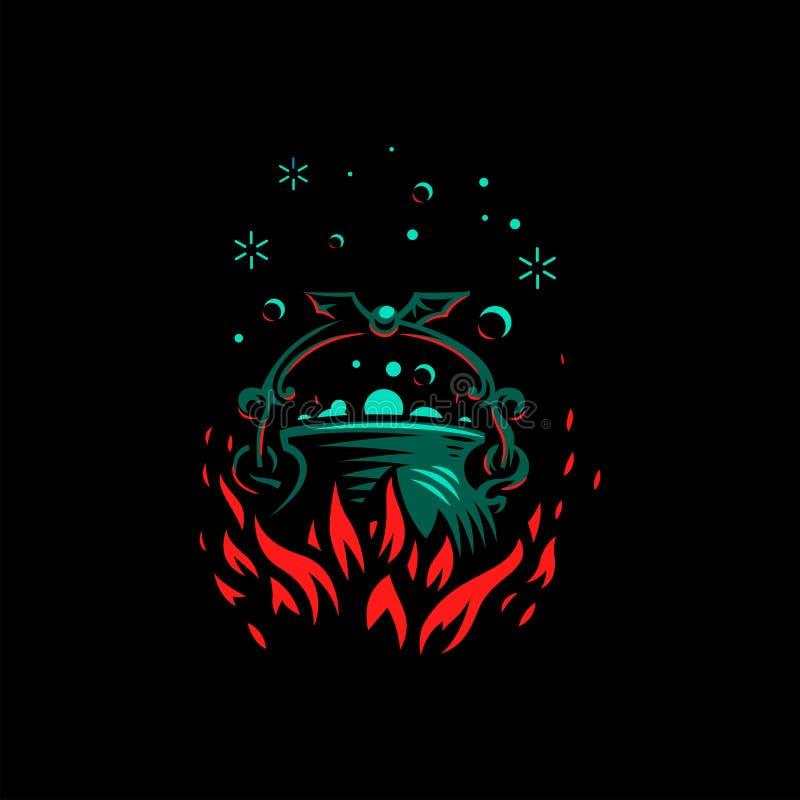 Chaudron magique avec une poignée de batte illustration de vecteur