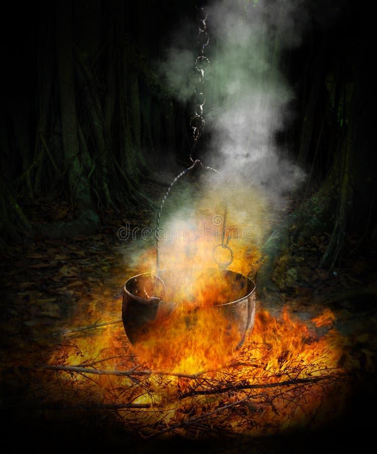 Chaudron noir en feu photographie stock libre de droits