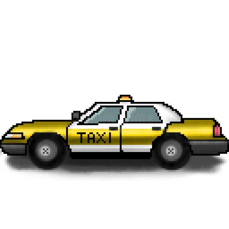 Chaufför för taxi för bit för PIXEL 8 utdragen för hyra vektor illustrationer