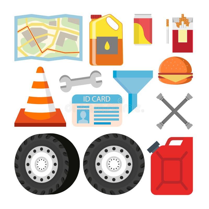 Chaufför Items Set Vector Bilen anmärker tillbehör Översikt olja, sodavatten, cigaretter, vägkotte, skiftnyckel, kanister vektor illustrationer