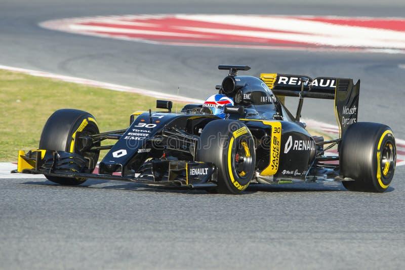 Chaufför Jolyon Plamer Team Renault Sport royaltyfria bilder