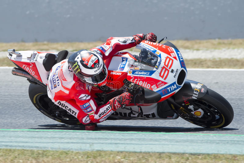 Chaufför Jorge Lorenzo Ducati LAG Gigantisk energigrand prix av Catalonia MotoGP arkivfoto