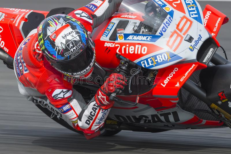 Chaufför Jorge Lorenzo Gigantisk energigrand prix av Catalonia MotoGP royaltyfri foto