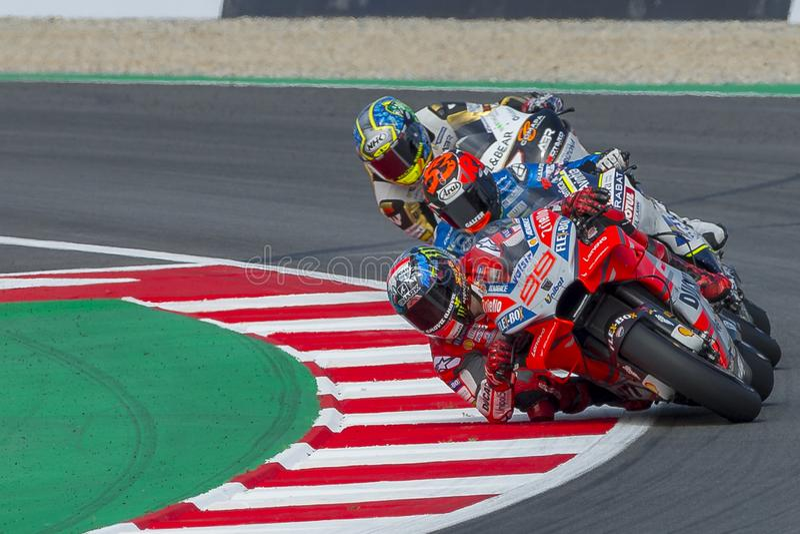 Chaufför Jorge Lorenzo Gigantisk energigrand prix av Catalonia MotoGP arkivfoton