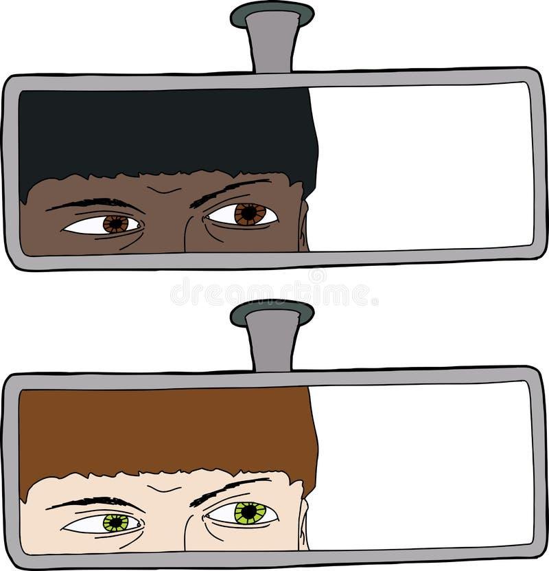 Chaufför Looking i spegel royaltyfri illustrationer