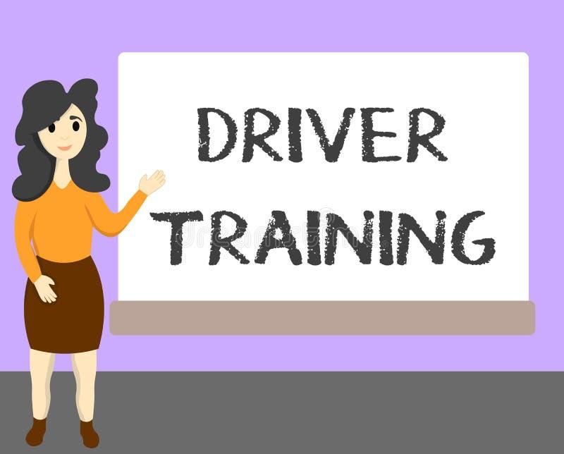 Chaufför Training för ordhandstiltext Affärsidéen för förbereder en ny chaufför att erhålla ett körkort royaltyfri illustrationer