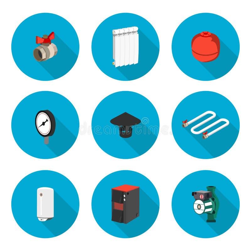Chauffage réglé par icônes plates illustration de vecteur