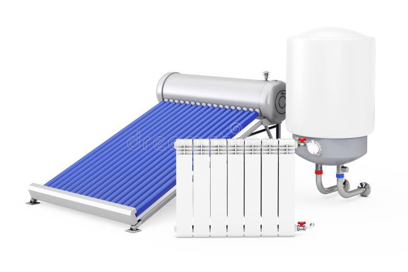 Chauffe-eau solaire avec la chaudière et le radiateur rendu 3d illustration de vecteur