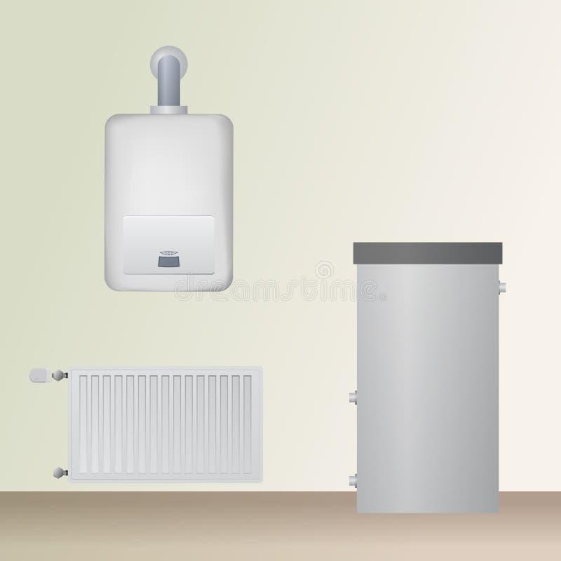 Chaufferie La chaudière, l'eau et l'acier de condensation lambrissent le radiateur illustration de vecteur