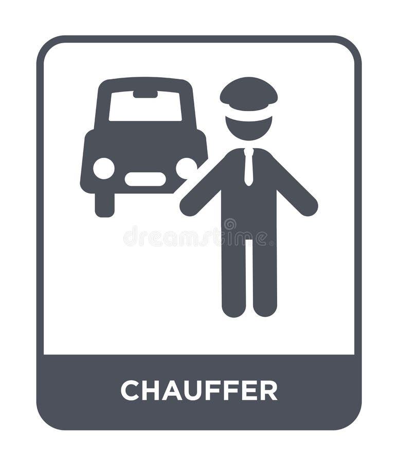 chauffersymbol i moderiktig designstil chauffersymbol som isoleras på vit bakgrund enkel och modern lägenhet för chauffervektorsy stock illustrationer