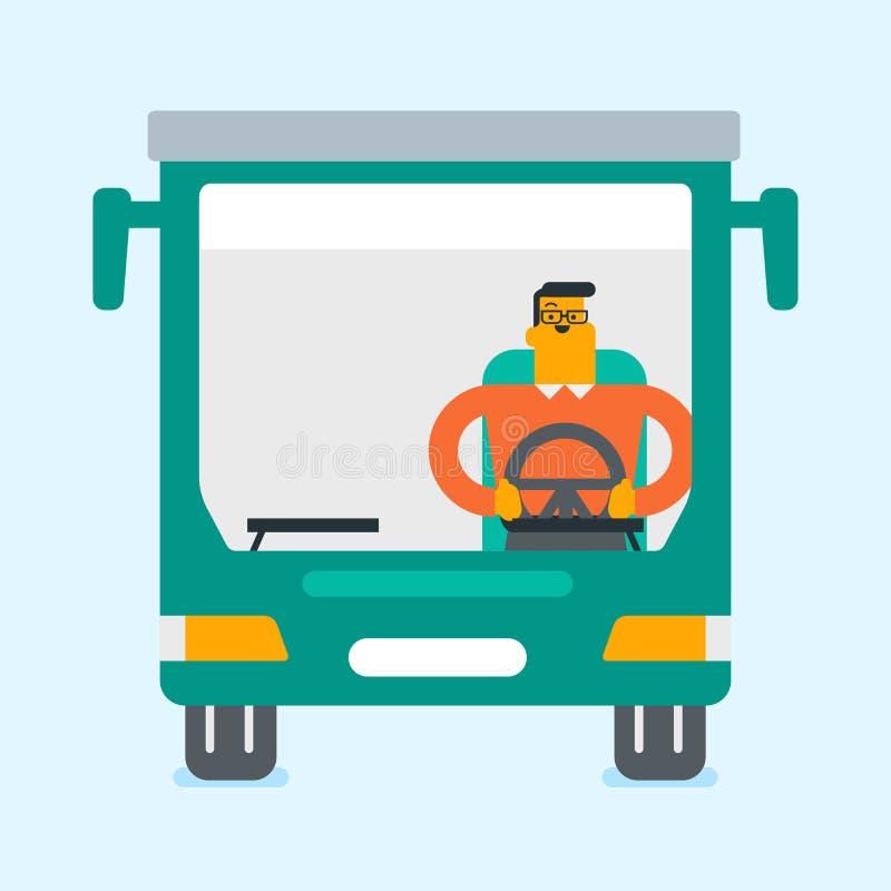 Chauffeur de bus caucasien se reposant au volant illustration de vecteur