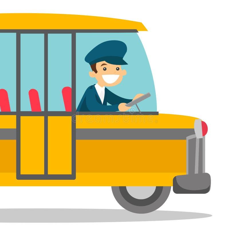 Chauffeur de bus caucasien se reposant au volant illustration stock