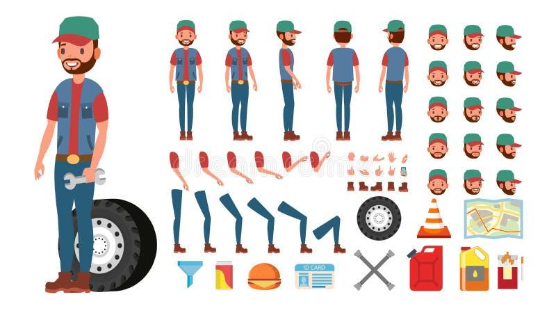 Chauffeur de camion Vector Ensemble animé de création de caractère de camionneur Intégral, avant, côté, vue arrière, accessoires, illustration libre de droits