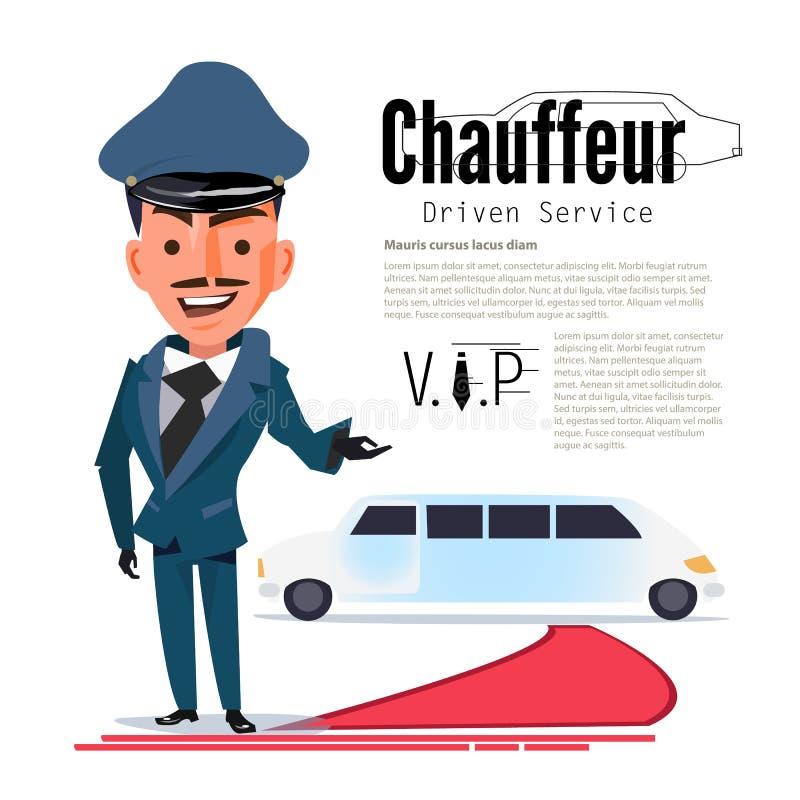 chauffeur karakterontwerp met typografisch voor ontwerp uw hea stock illustratie