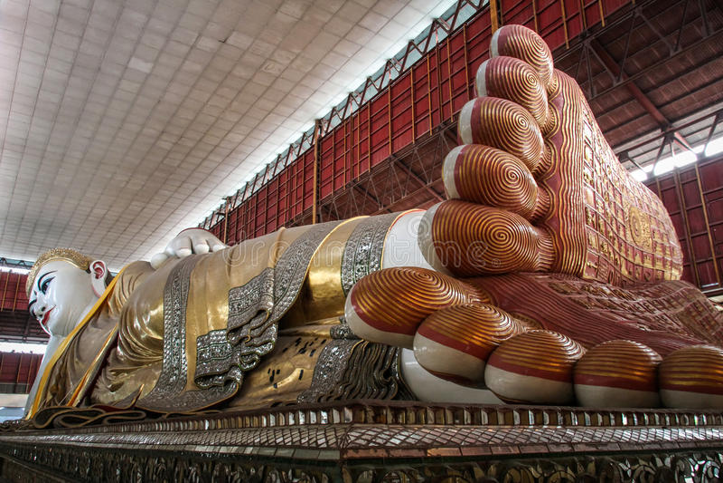 Chaukhtatgyi Buddha Temple, reclining Buddha, Yangon, Myanmar royalty free stock photography
