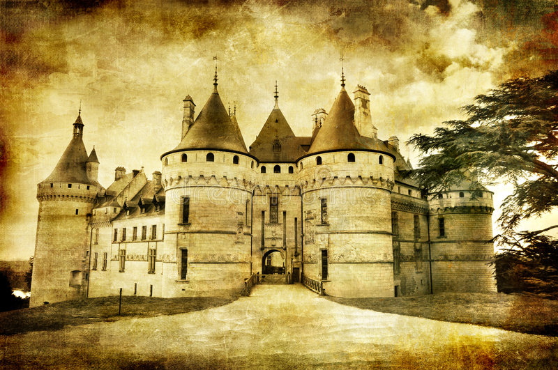 Chaumont. Medieval Chaumont castle - sepia toned picture in retro style stock images