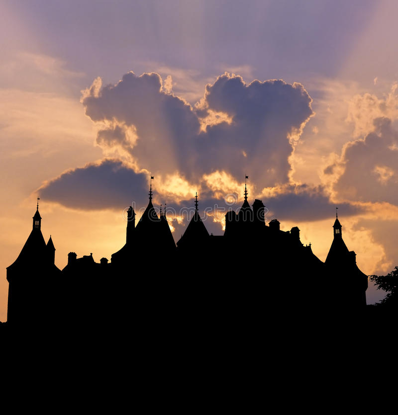 Chaumont castle sunset. Silhouette of French castle of Chaumont outlined by sunset. Typical Renaissance style of Loire Valley castles, France stock photo