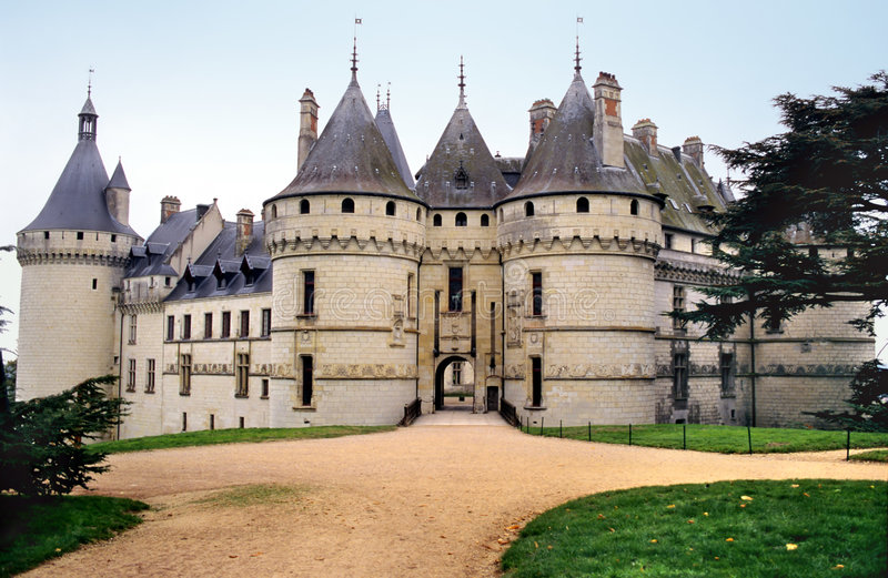 Chaumont chateau. Renaissance still looking medieval castle of Chaumont, in Loire valley, France royalty free stock images