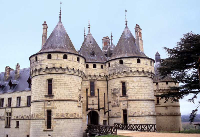 Chaumont chateau. Renaissance still looking medieval castle of Chaumont, in Loire valley, France royalty free stock image