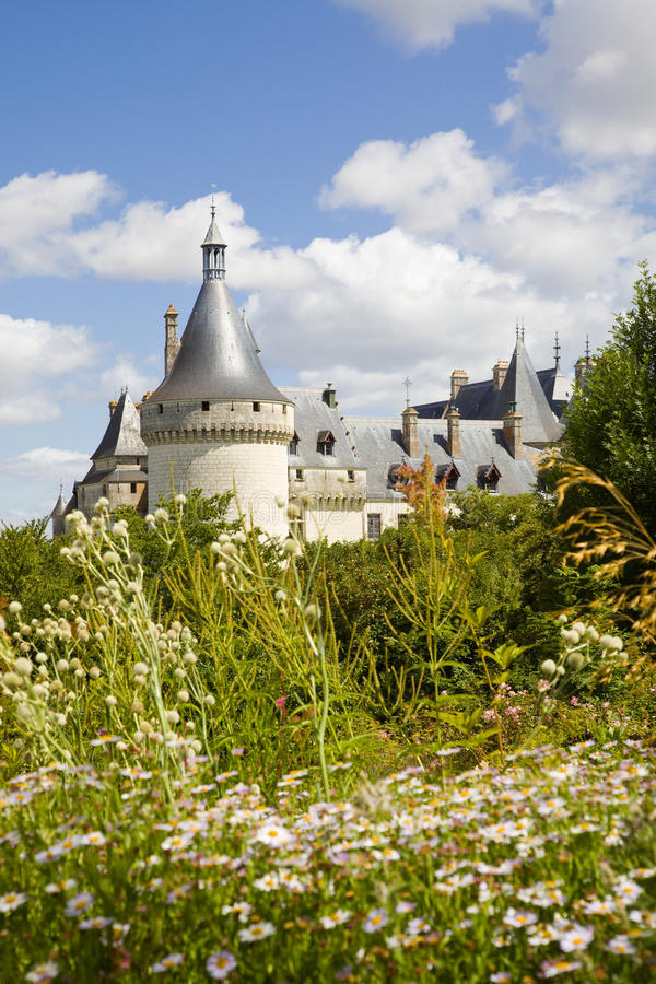 Chaumont Chateau postcard. Chaumont Chateau towers behind an amazing garden. France series stock photo