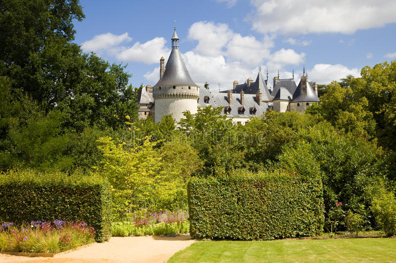 Chaumont Chateau postcard. Chaumont Chateau towers behind an amazing garden. France series stock photography