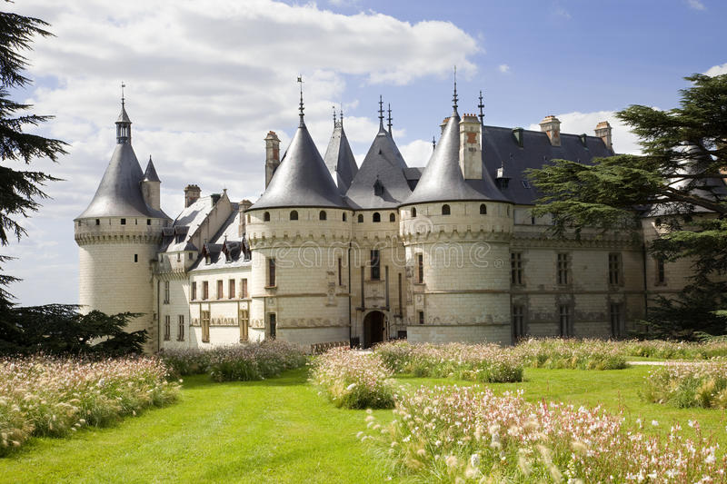 Chaumont Chateau postcard. Chaumont Chateau from the garden. France series royalty free stock images