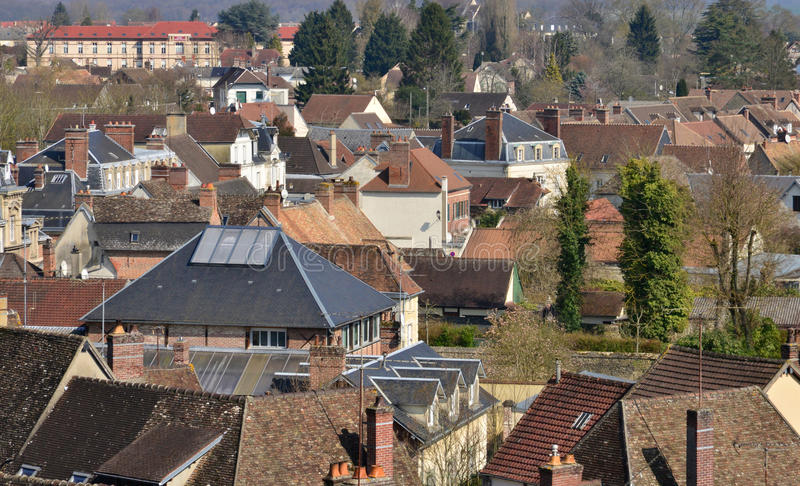 Chaumont en Vexin, France - march 14 2016 : city. Chaumont en Vexin, France - march 14 2016 : the city view from the church royalty free stock image