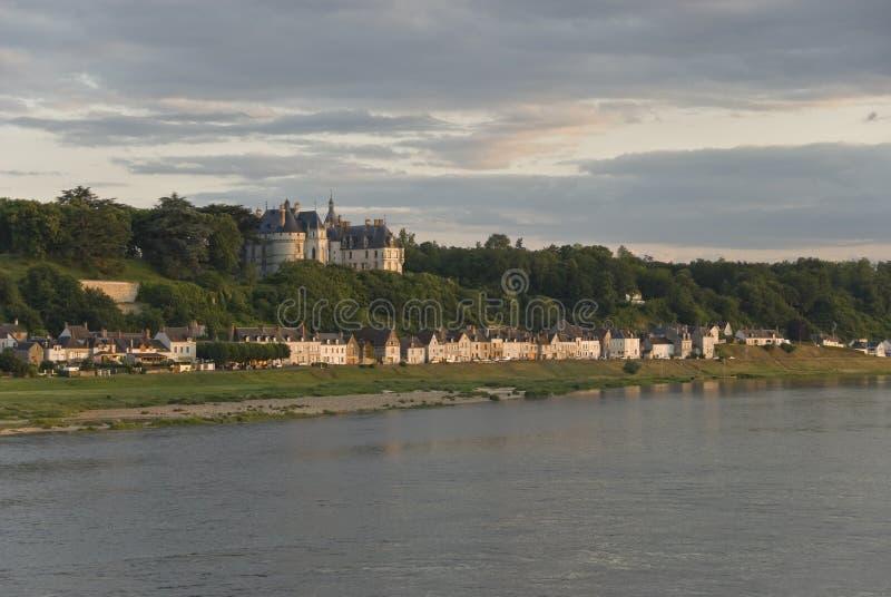 Chaumont-sur-Loire. Castle and village Chaumont-sur-Loire, view from Loire river. Loire Valley, France royalty free stock photos