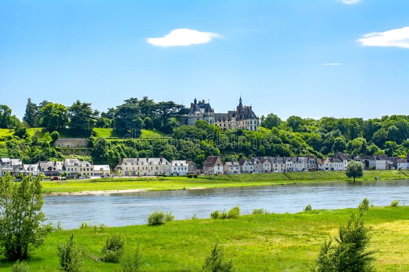 Chaumont-sur-Loire castle over Loire river, France royalty free stock photography