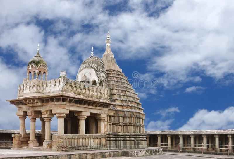 The sandstone blocks forming the main shrine of the temple stock image