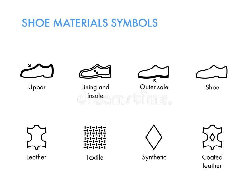 Chausse des symboles de matériaux Labels de chaussures Chausse le glyph de propriétés illustration libre de droits