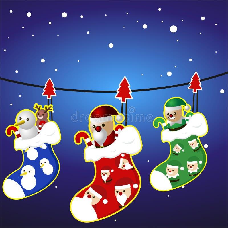 Chaussette de Joyeux Noël et caractère, vecteur, bonhomme de neige, Santa, elfe, renne sur la corde illustration libre de droits