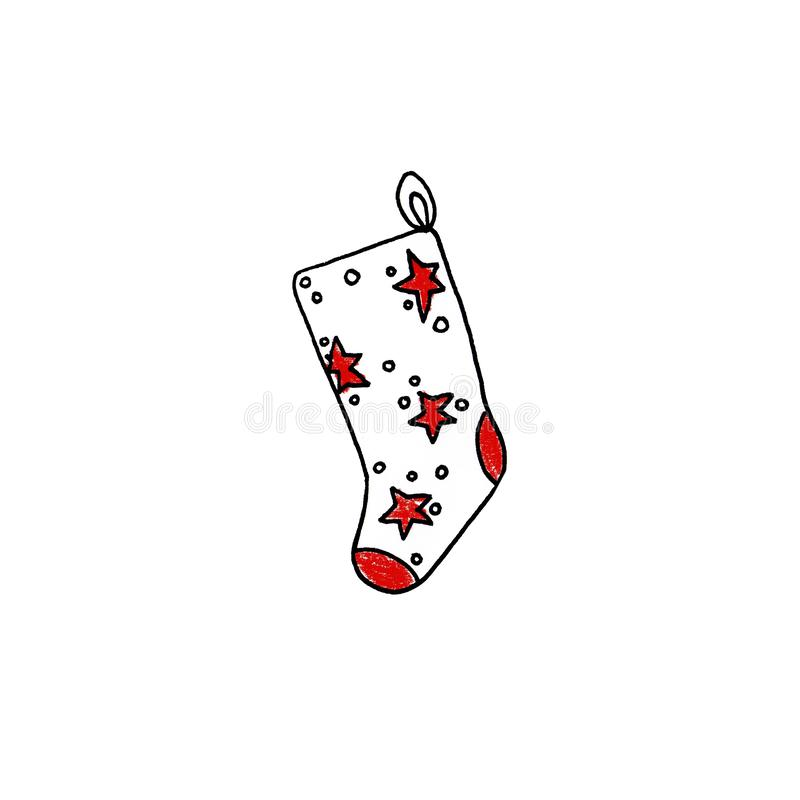 Chaussette tirée par la main de Noël de nouvelle année avec les étoiles rouges sur le fond blanc photo stock
