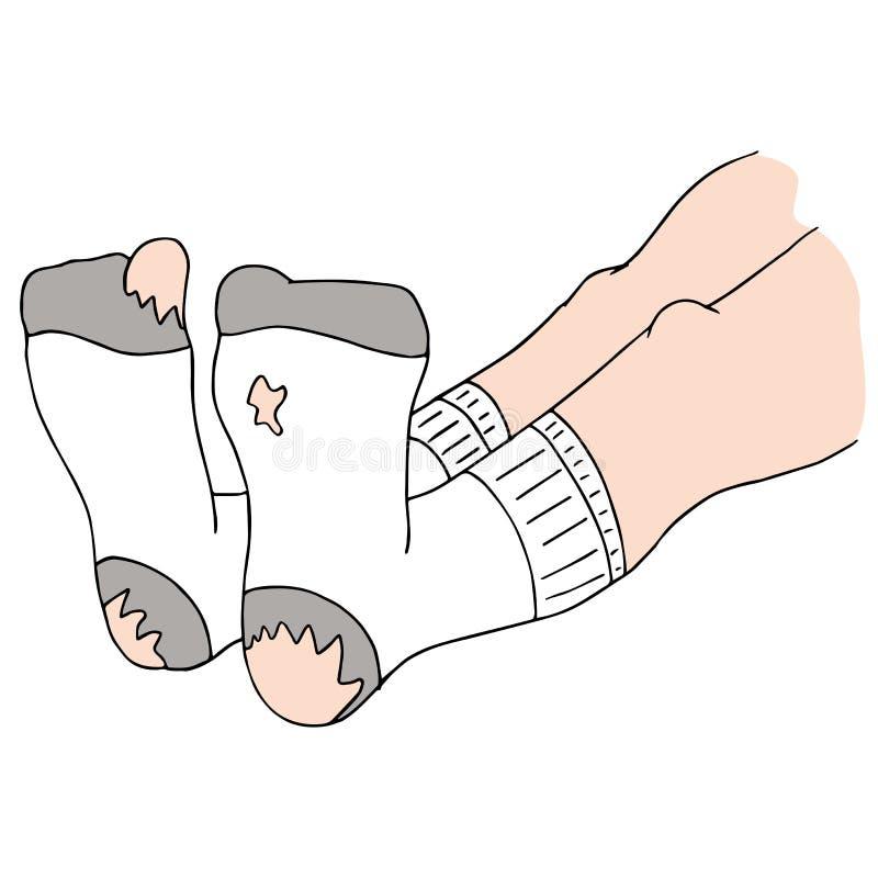 Chaussettes avec des trous illustration de vecteur