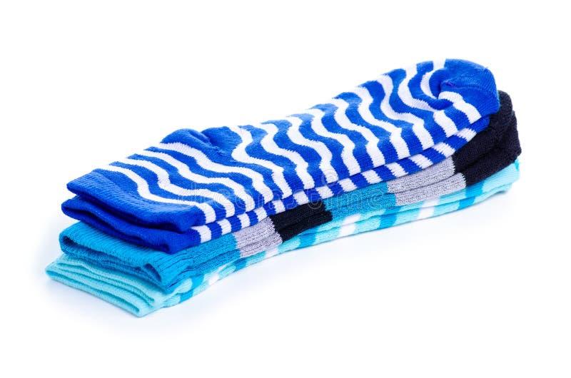 Chaussettes bleues de pile images stock