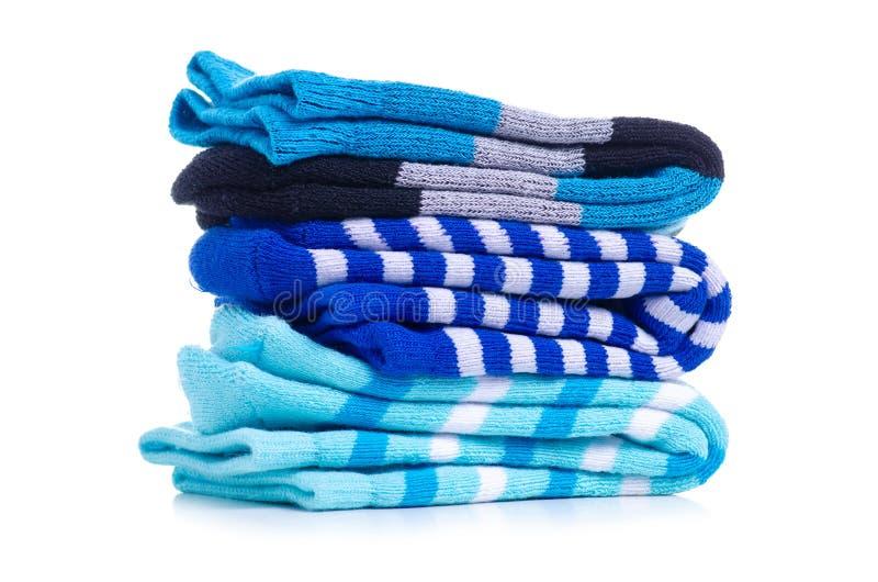 Chaussettes bleues de pile images libres de droits