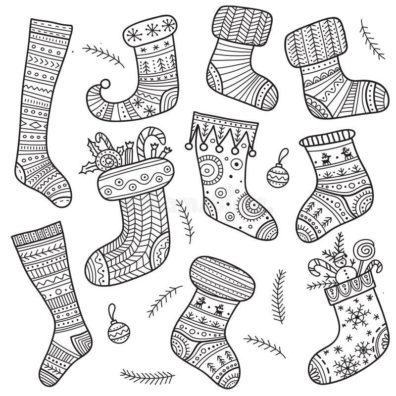 Chaussettes de boho de Noël réglées illustration de vecteur