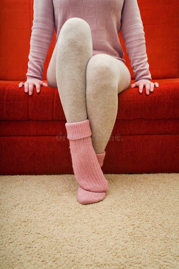 Chaussettes de laine chaudes photographie stock libre de droits