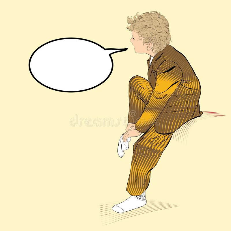Chaussettes de port de garçon Habillage d'écolier Illustration du habillage de garçon illustration libre de droits