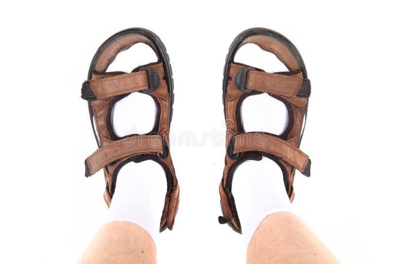Chaussettes et sandales en tant que symbole de touristes tchèque photo libre de droits